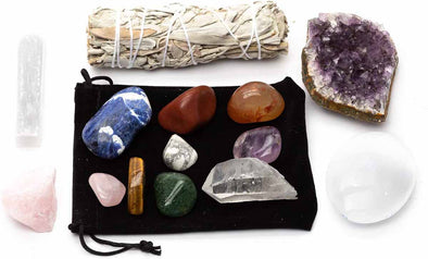 Chakra Healing Stones & Cleansing Kit 14 pieces