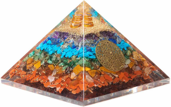 Seven Chakra Stone Orgone Pyramid with Quartz Point