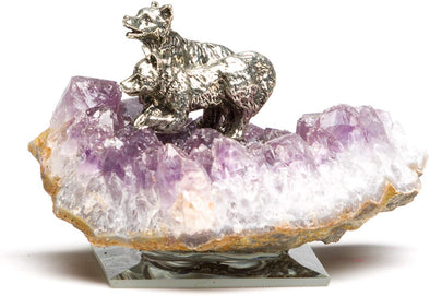 Pewter Wolf Cubs Figurine on Amethyst Base