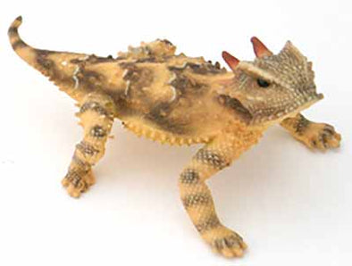 "California 3.5"" Horned Lizard, Female, Painted Figurine with Tail Out"