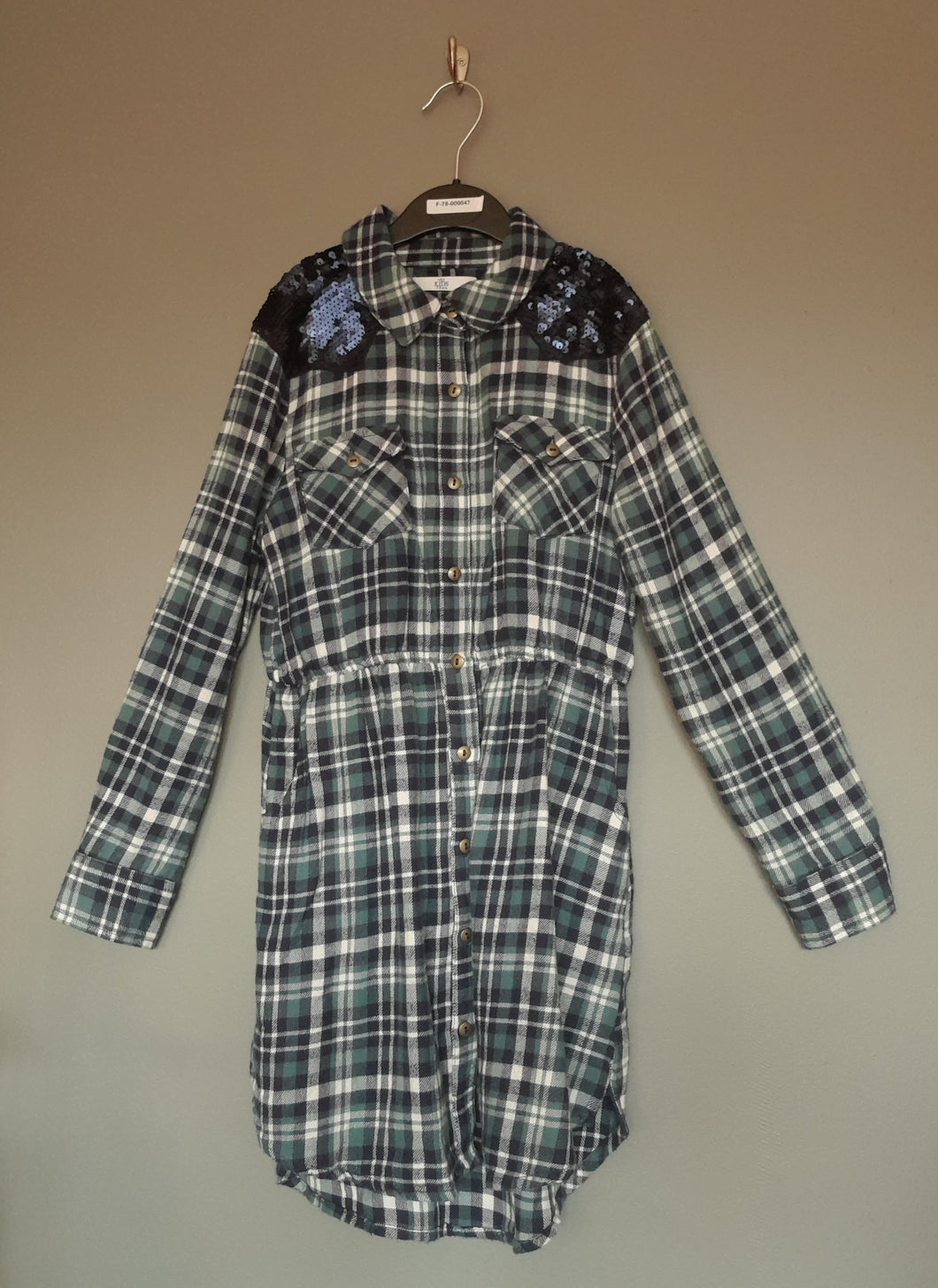 7-8 years Blue Checked Shirt Dress With Sequins