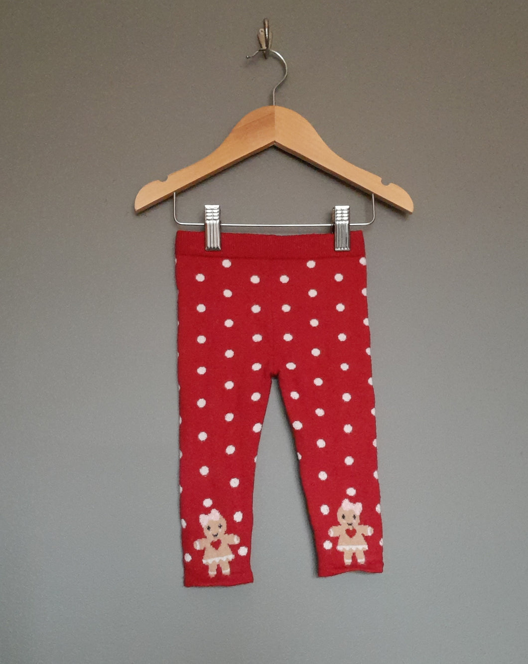 9-12 months Red Gingerbread Christmas Thick Leggings