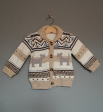 Load image into Gallery viewer, 6-9 months Cream, Brown & Light Blue Thick Cardigan