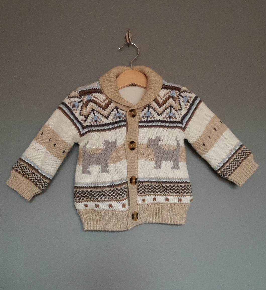 6-9 months Cream, Brown & Light Blue Thick Cardigan