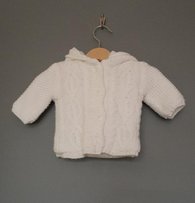 Newborn tiny baby White hooded knitted cardigan