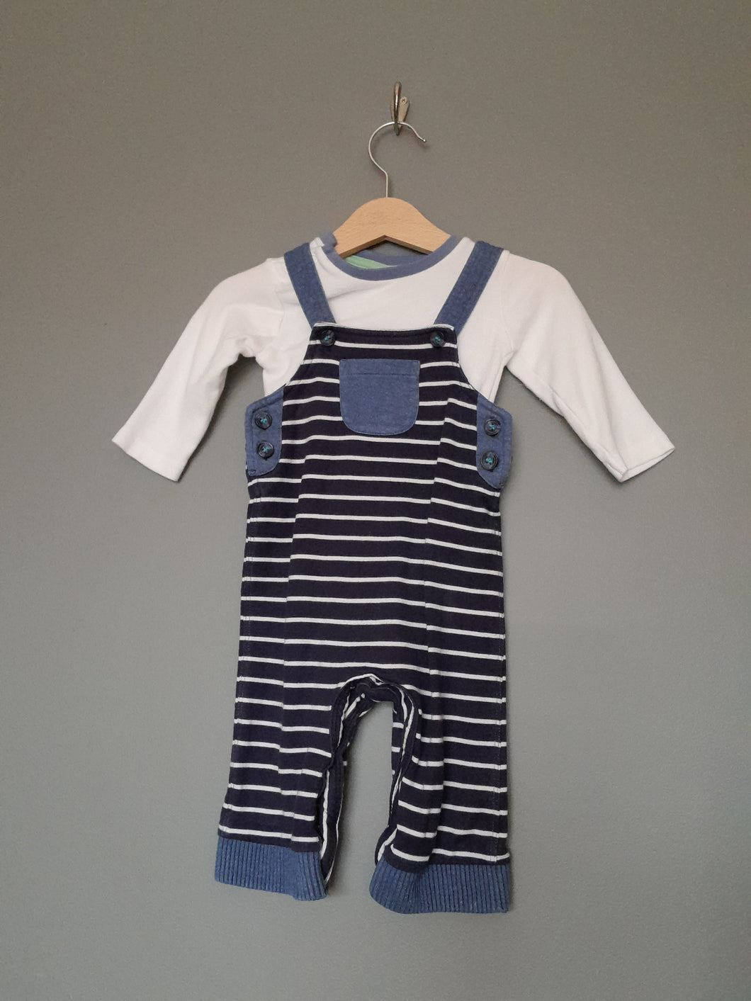 3-6 months Navy & White Striped Dungarees & White Long Sleeve Vest