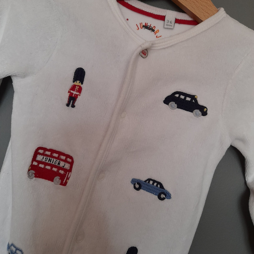3-6 months White Velour London Baby Grow