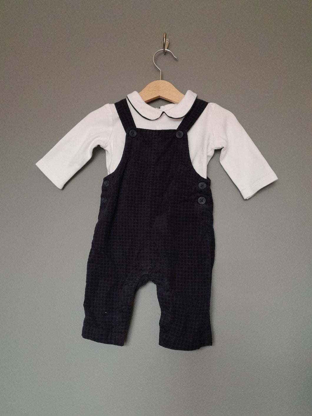 3-6 months Navy Dungarees & White Peter Pan collar top