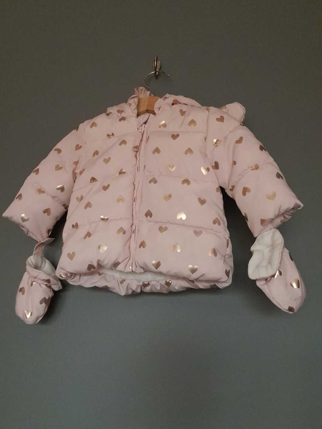 0-3 months padded hooded coat with mitts