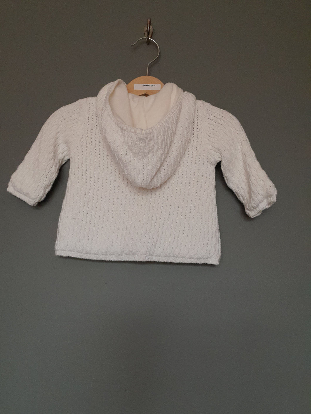 0-3 months cream knitted hooded cardigan