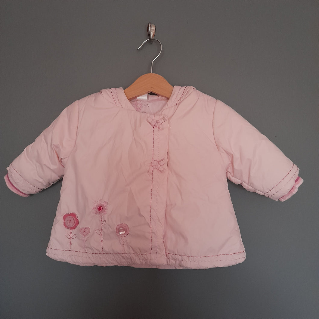 3-6 months Pink flower hooded coat