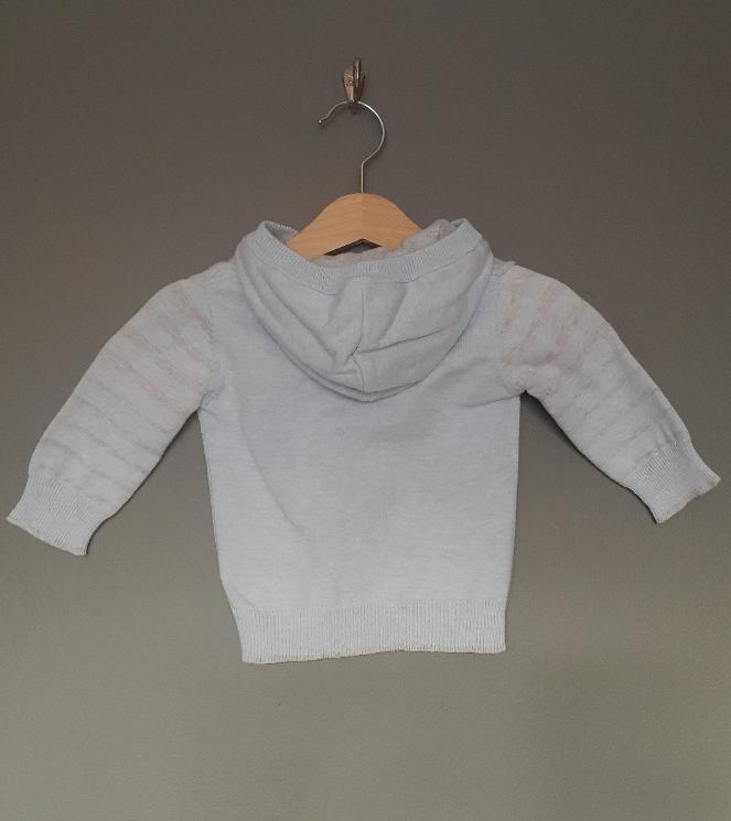0-3 months blue/grey knitted hoodie - George