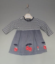Load image into Gallery viewer, 0-3 months Navy striped cherry dress - Bluezoo