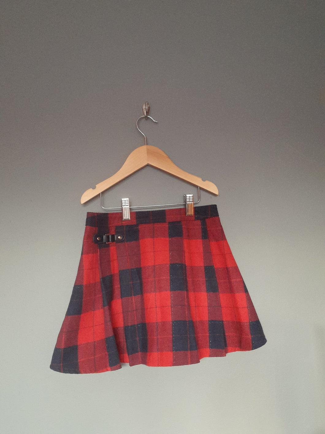 6-7 years red polo neck top and tartan skirt - F&F