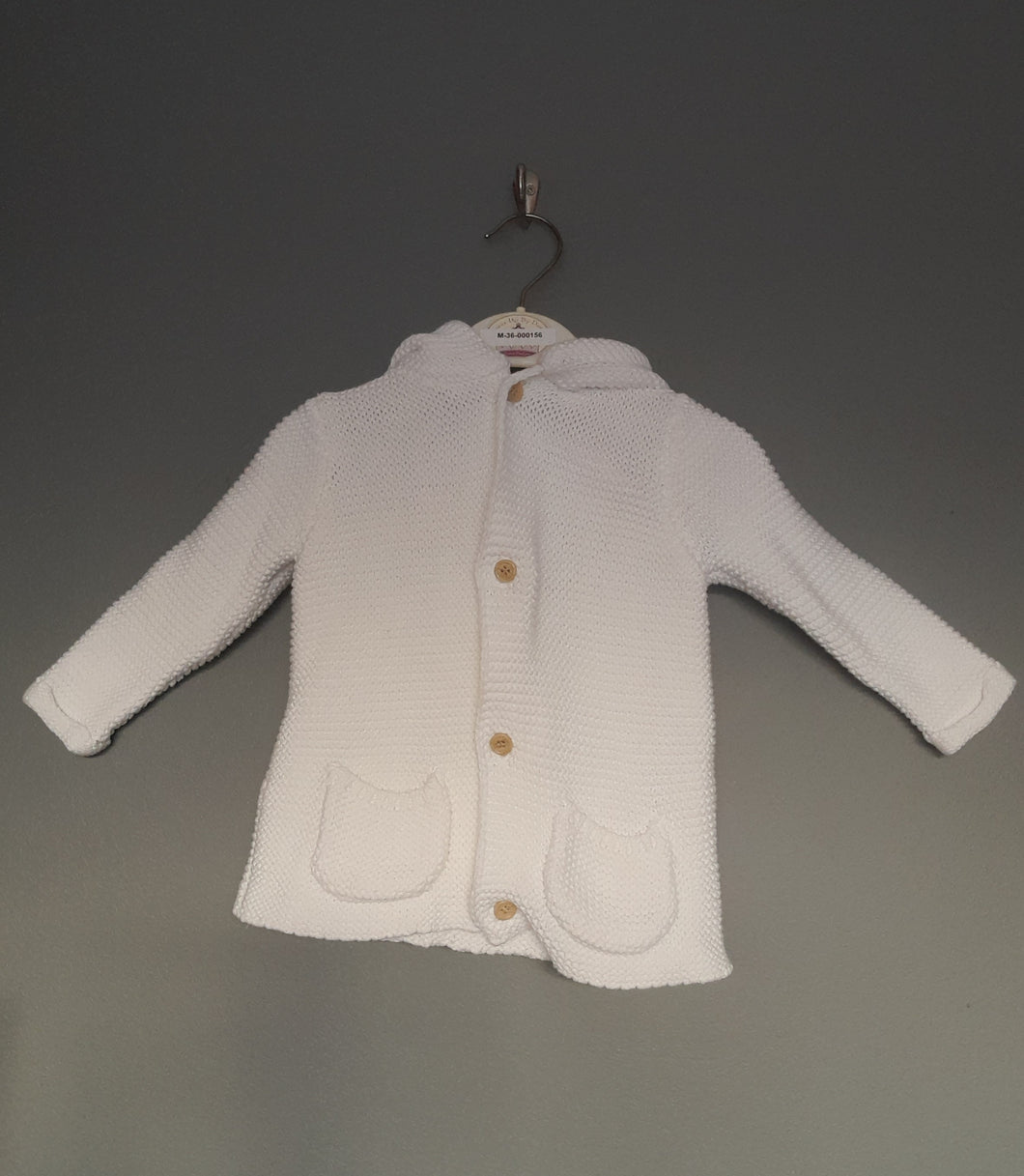 3-6 months white knitted hooded cardigan- George