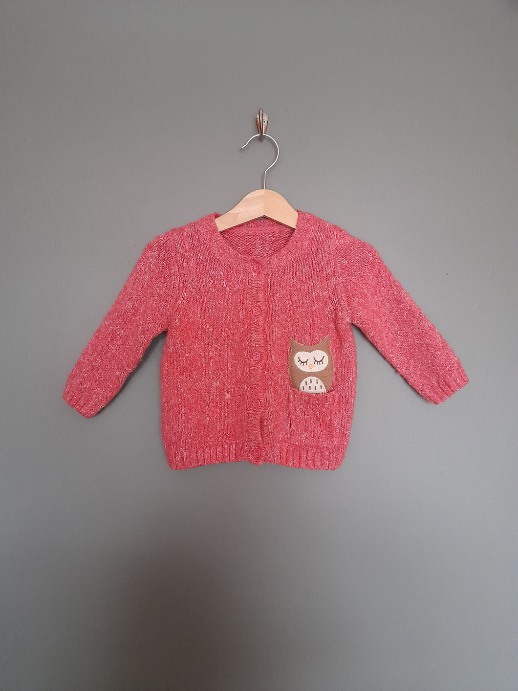 9-12 months Pink knitted cardigan with owl - Matalan