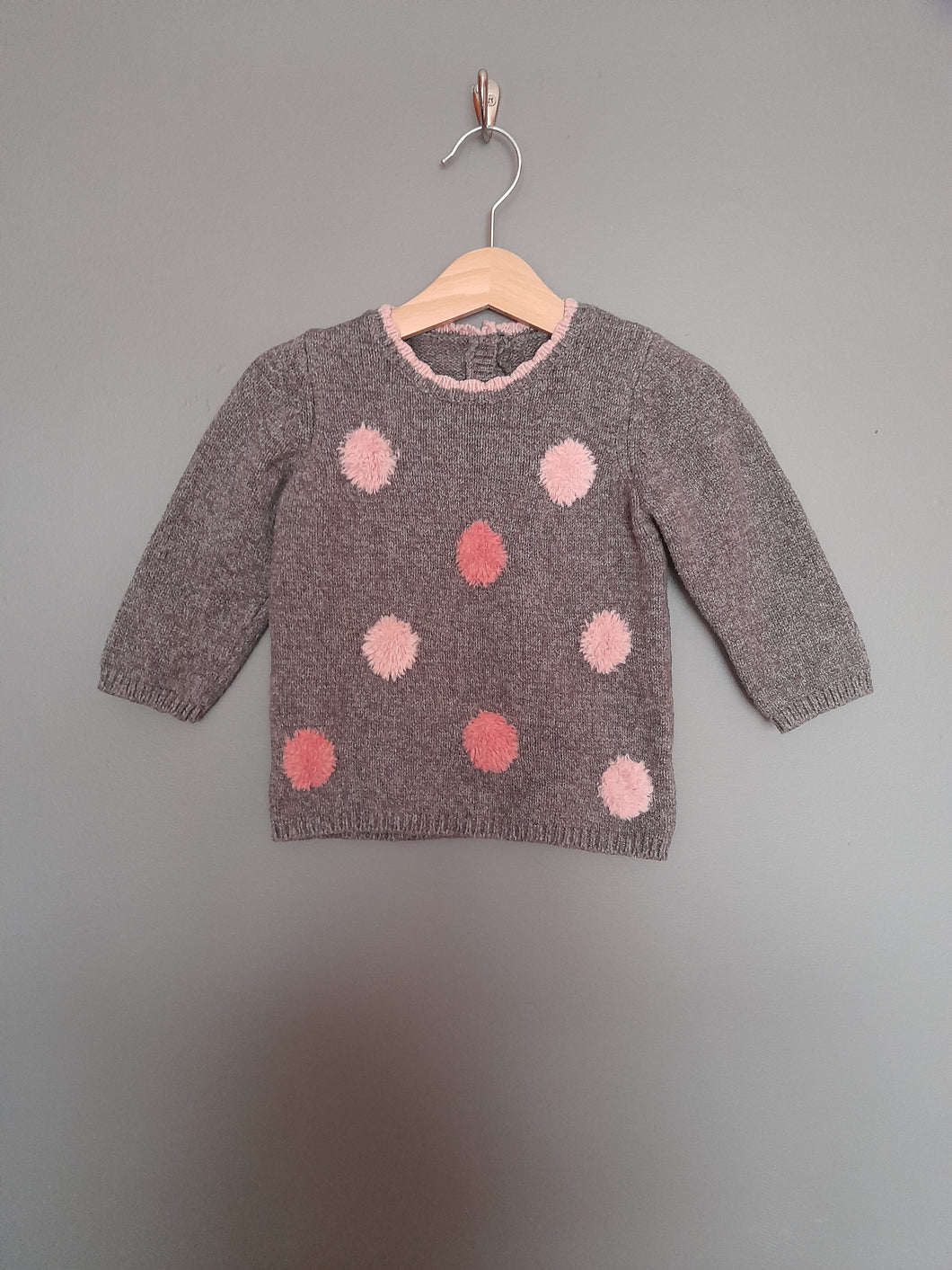 9-12 months Grey & Pink Jumper - George