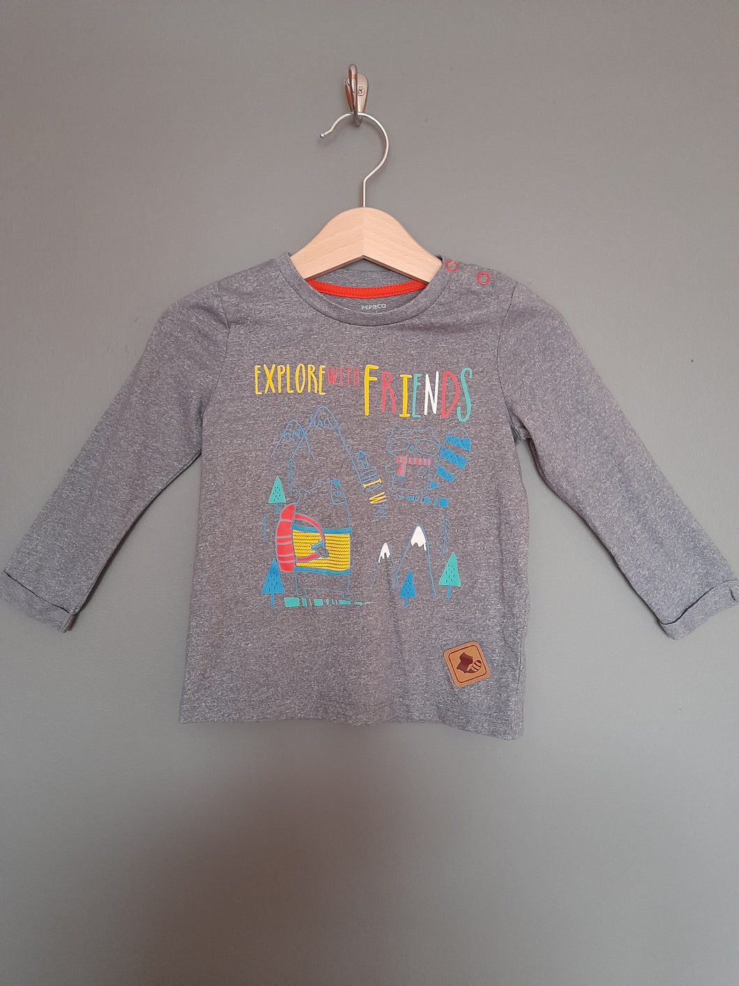 12-18 months Grey 'explore with friends' top - Pep & Co