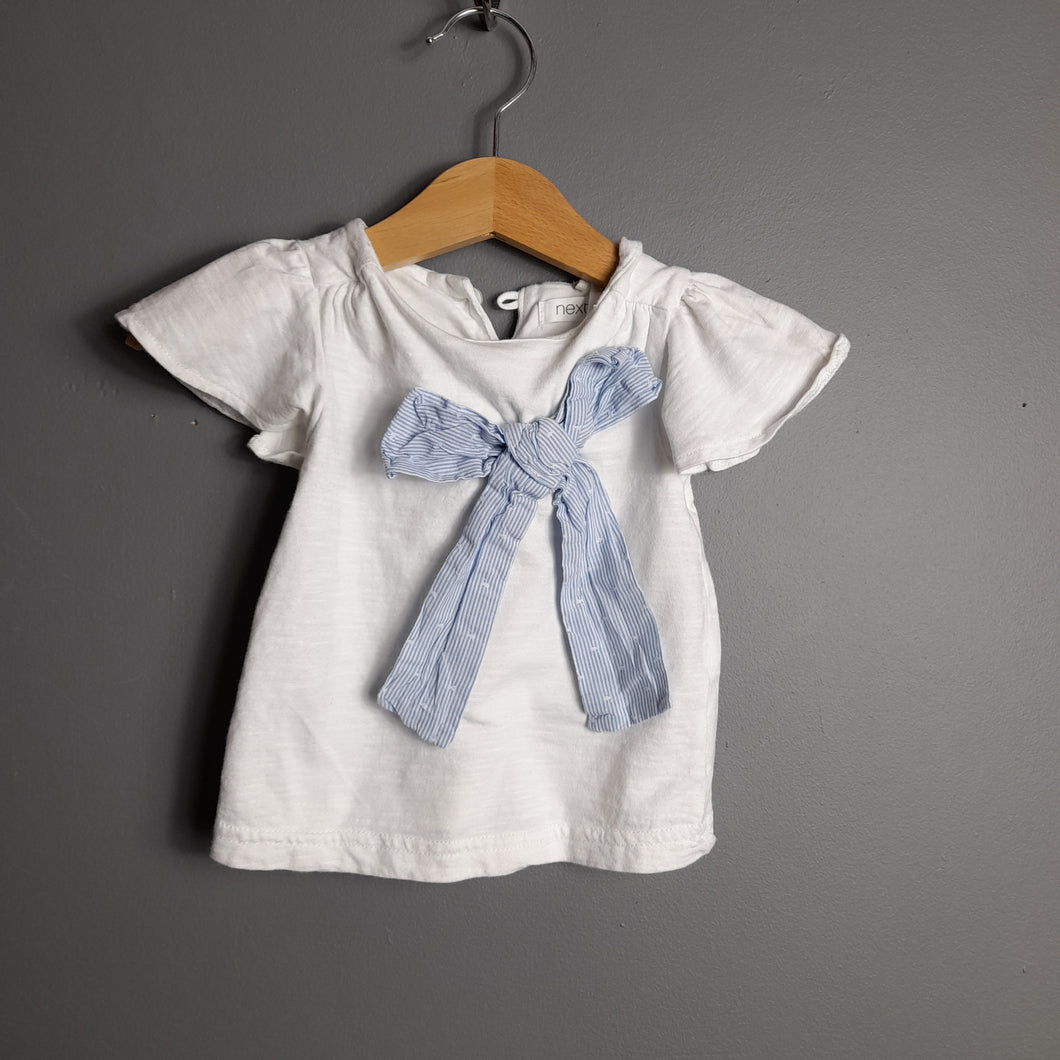 3-6 months White Tshirt with Blue Bow - Next