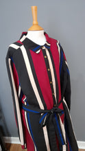 Load image into Gallery viewer, Size 14 Black & Burgundy Stripe Shirt Dress - Quiz
