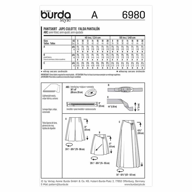 Burda 6980 - Jupe- short