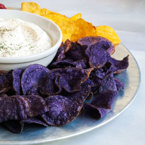 Jackson's Honest Purple Heirloom Potato chips, served with dip, serving suggestion carousel thumbnail image
