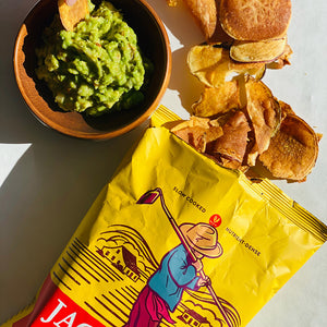 Bowl of guacamole and Japanese Heirloom Sweet Potato Chips carousel thumbnail image