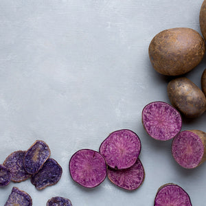 Jackson's Honest Purple Heirloom Potato, raw potato to finished chips carousel thumbnail image