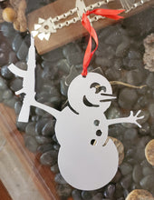 Load image into Gallery viewer, Snowman with shotgun, AK or pistol Christmas ornament