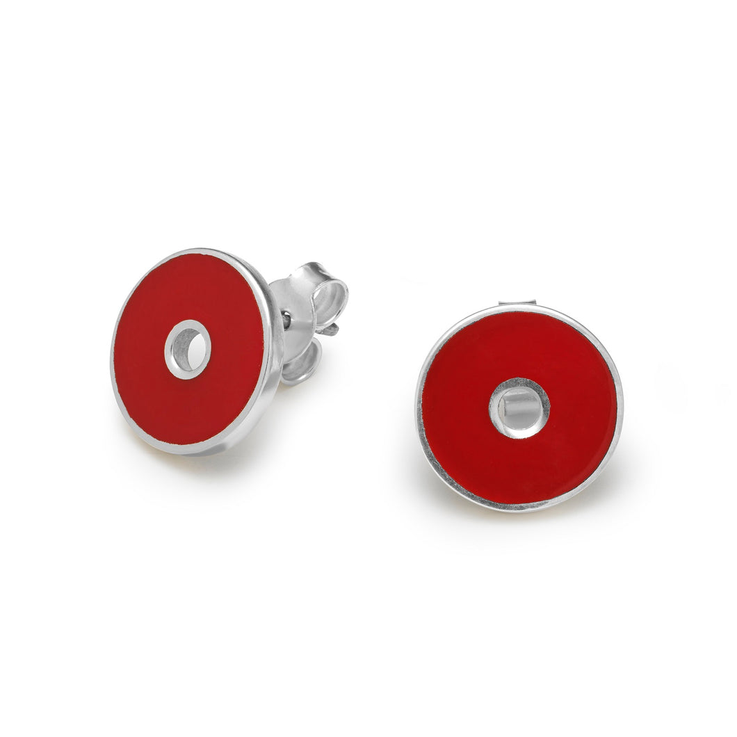 Deep Red Colorit Pendant and Silver Earring