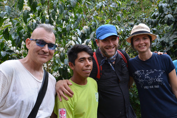 Four people stand with blossoming coffee tree