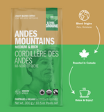 Andes Mountain 300 gram ground coffee bag infographic, blend origins Peru and Honduras, roasted in Canada