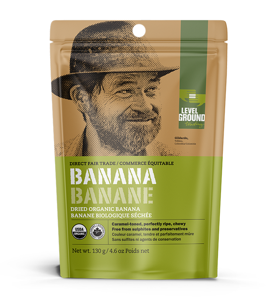 Organic dried banana, 130 gram package