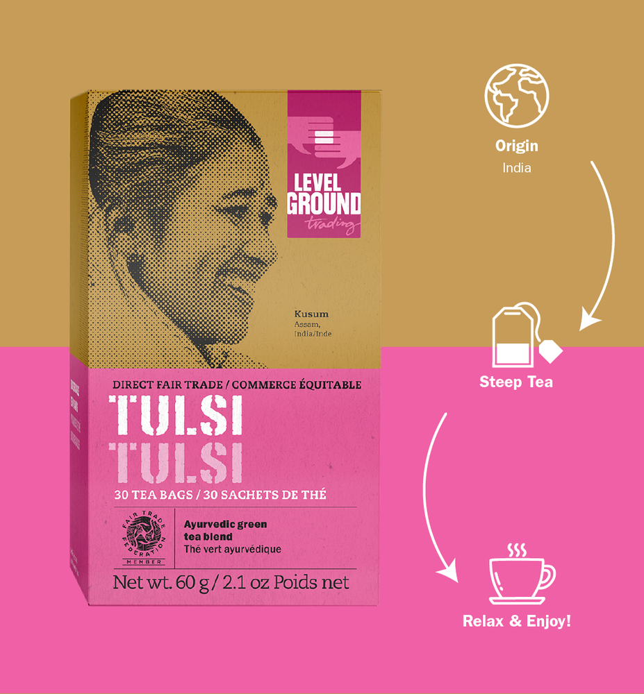 Tulsi tea 60 gram box infographic, origin India, 30 tea bags