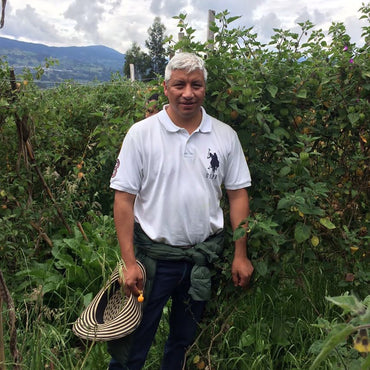 Male golden berry farmer in Colombia stands in vineyard