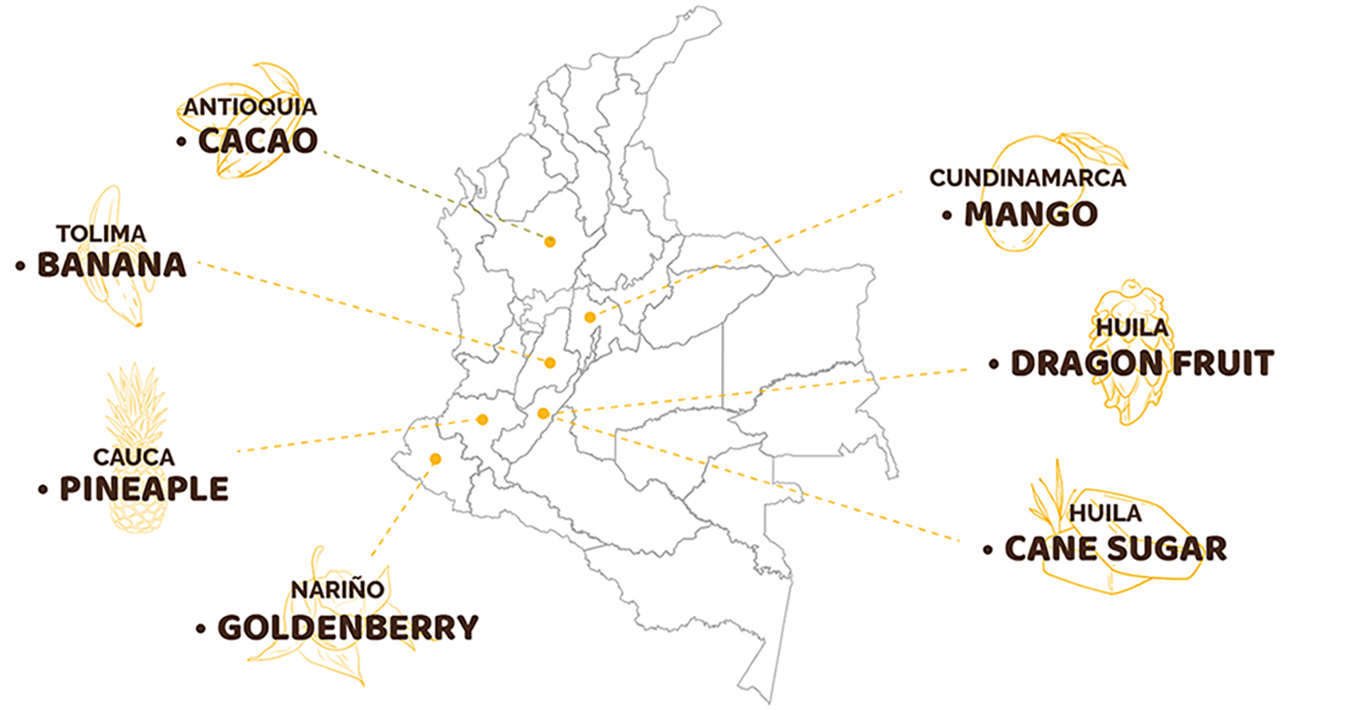 Colombia map infographic, regions where cacao, banana, pineapple, goldenberry, mango, dragon fruit, cane sugar grown