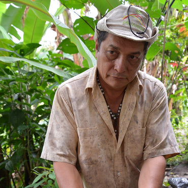 Male banana farmer in Colombia stands outside