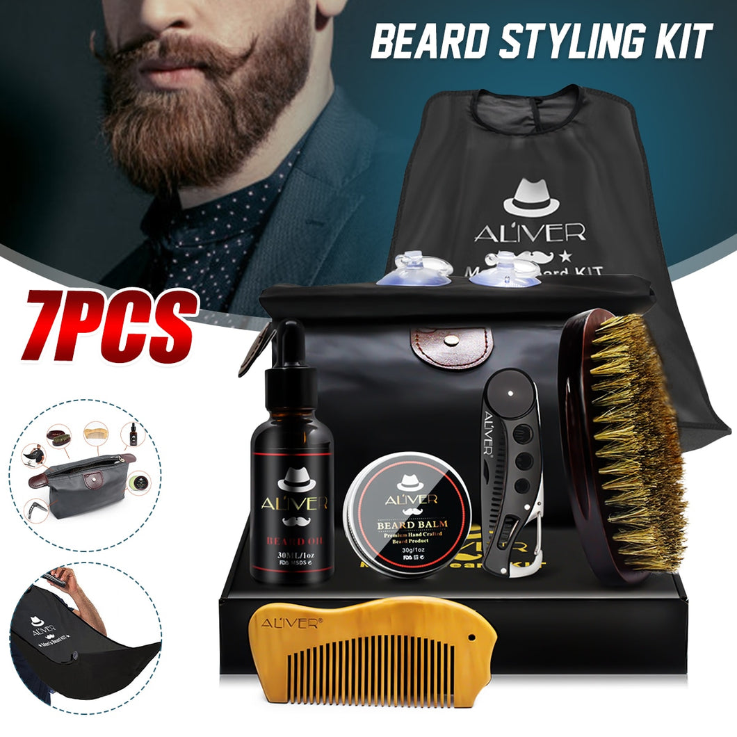 7 Pcs/set Beard Suit Beard Comb Brush Cream Oil Beard Styling Hair Growth Care Cleaning Kit Hair Loss Products for Soft Cleanse