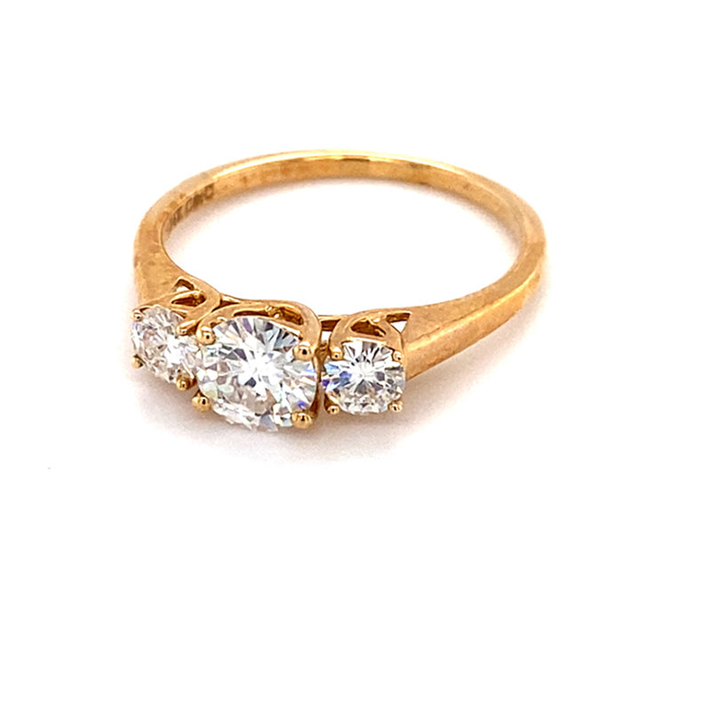 1.26 CTW DEW Round Moissanite Three-Stone Engagement Ring in 14K Yellow Gold