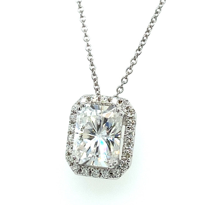 2.92 CTW DEW Radiant Near-Colorless Moissanite Halo Pendant in 14K White Gold