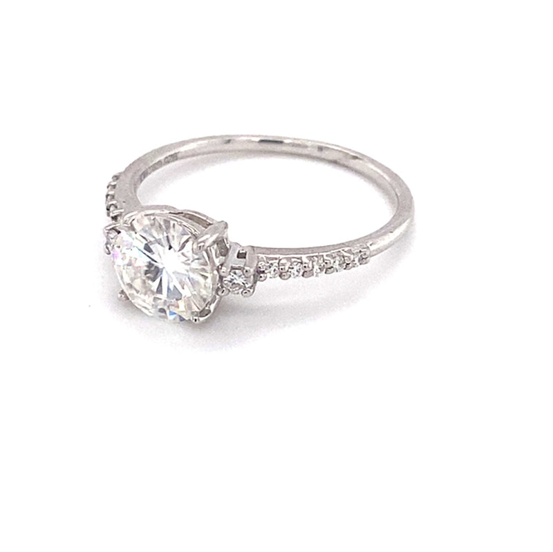 1.31 CTW DEW Round Near-Colorless Moissanite Solitaire with Accents Engagement Ring in Sterling Silver