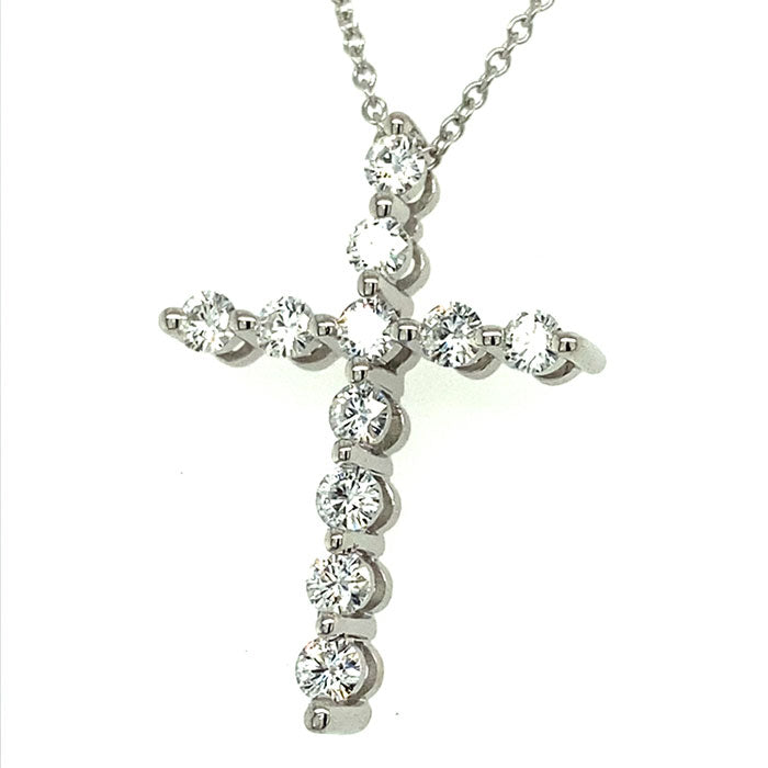 0.66 CTW DEW Round Near-Colorless Moissanite Cross Pendant in 14K White Gold