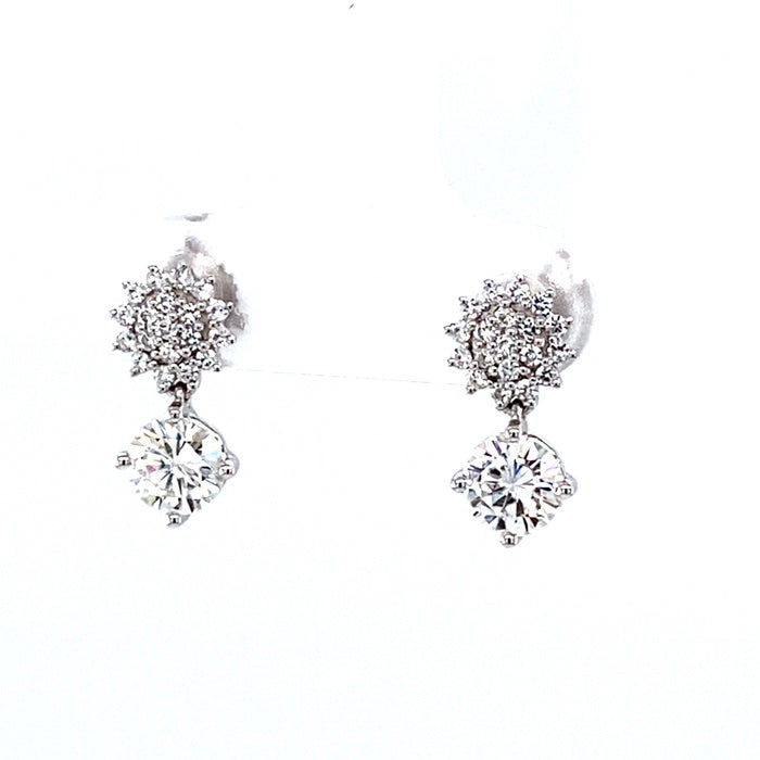 1.25 CTW DEW Round Near-Colorless Moissanite Halo Drop Earrings in 14K White Gold