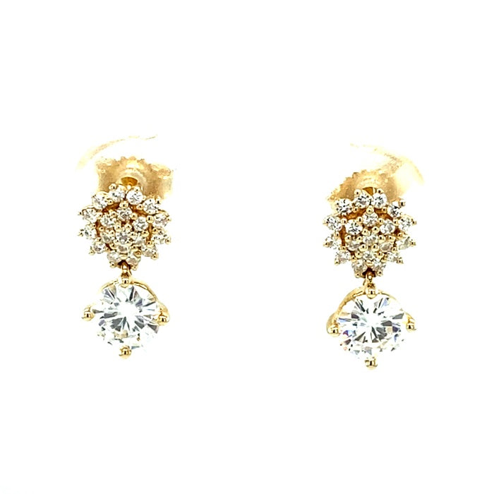 1.25 CTW DEW Round Near-Colorless Moissanite Drop Earrings in 14K Yellow Gold