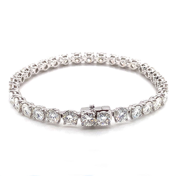 16.00 CTW DEW Round Near-Colorless Moissanite Line Bracelet in 14K White Gold