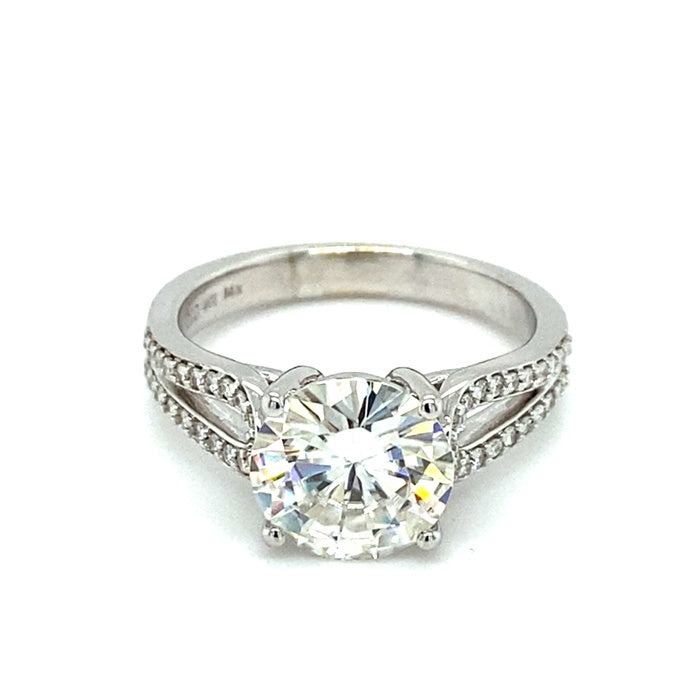 2.91 CTW DEW Round Moissanite Solitaire Engagement Ring in 14K White Gold