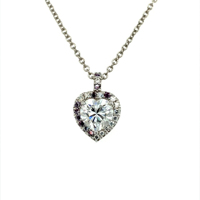2.13 CTW DEW Heart Near-Colorless Moissanite Halo Pendant in 14K White Gold