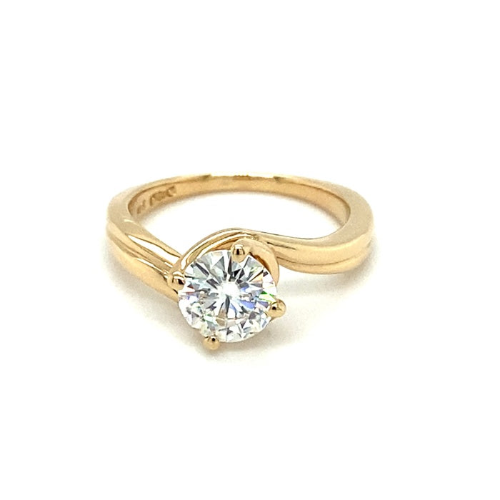 1.00 CTW DEW Round Near-Colorless Moissanite Solitaire Engagement Ring in 14K Yellow Gold