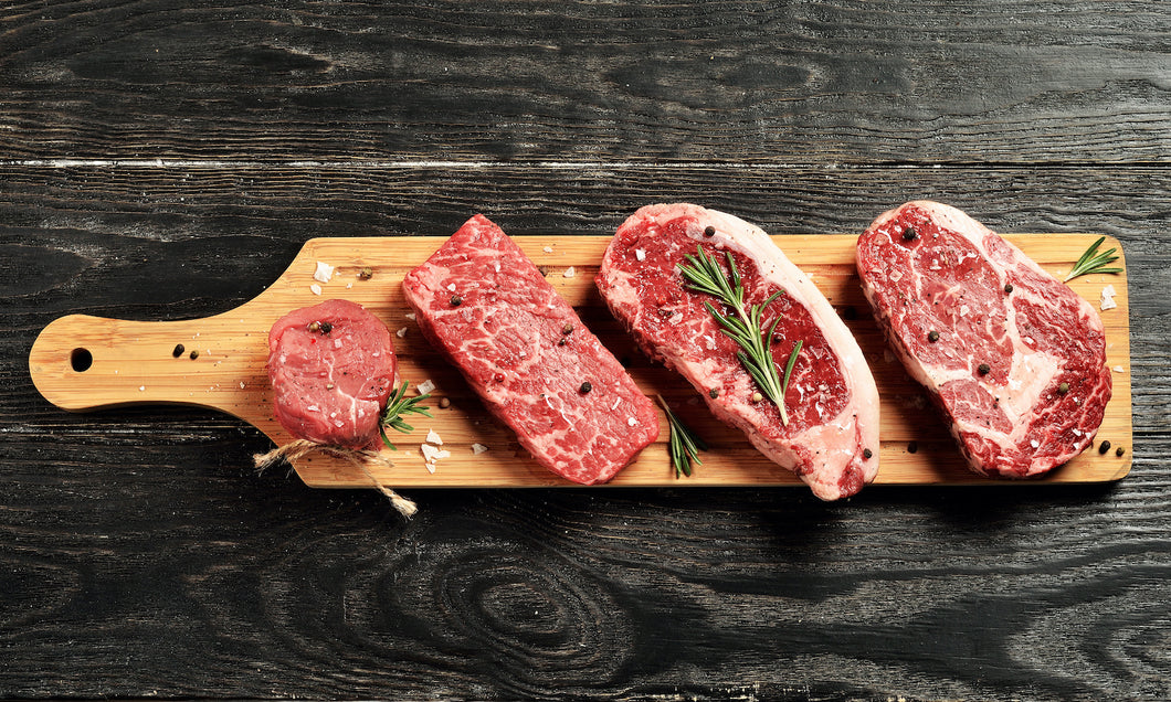 USDA Prime Filet Tenderloin, Prime Ribeye, Prime NY Strimp, Denver Steak, wagyu crooked butcher