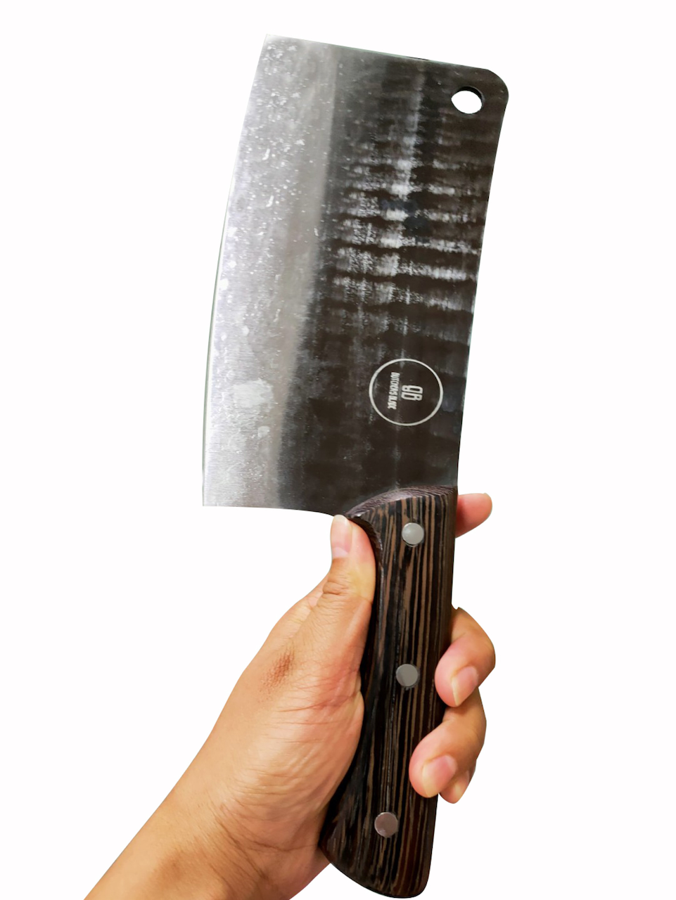 This classic High Carbon Butcher's style cleaver is big and solid knife that can chop or cut just about anything you can thow at it. It is heavy and makes cutting almost anything feel like slicing thru butter. Crooked Butcher